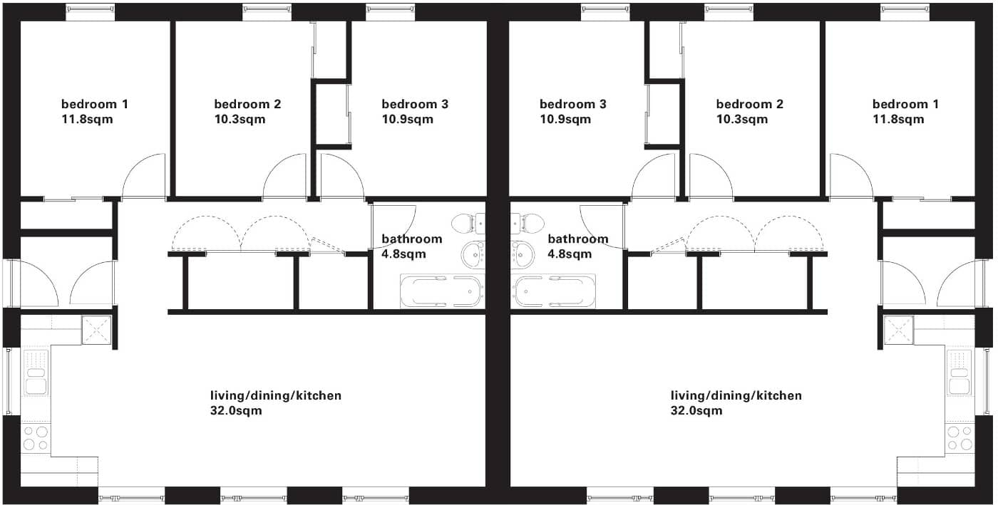 RS3 semi detached floor plan